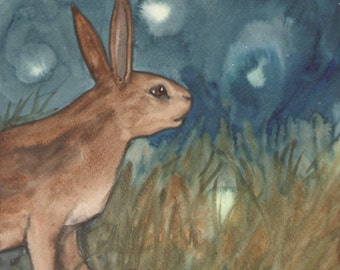 Original Art - The Queen of Rabbits - Watercolor Rabbit Painting -The Badgers Forest Tarot