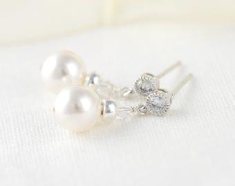 Small Pearl Earrings Drop pearl earrings Dangle pearl earrings Pearl drop earrings Pearl dangle earrings Bridal earrings pearl Bridal Drop