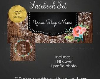 Facebook set, facebook banner, facebook graphics, facebook cover photo, watercolor, wood, rustic, store graphics, floral banner, chic