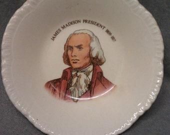 Bristol Pottery James Madison President 1809-1817 Dish Coin Tray