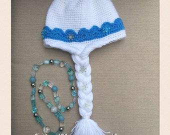 Elsa Frozen crochet hat pattern PDF, USA english