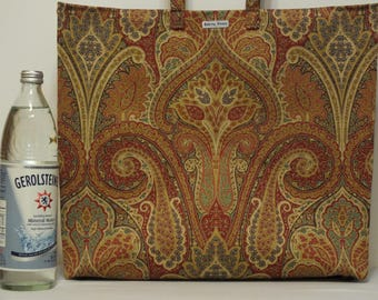 One-of-a-Kind Market Line Bag in print Divine India