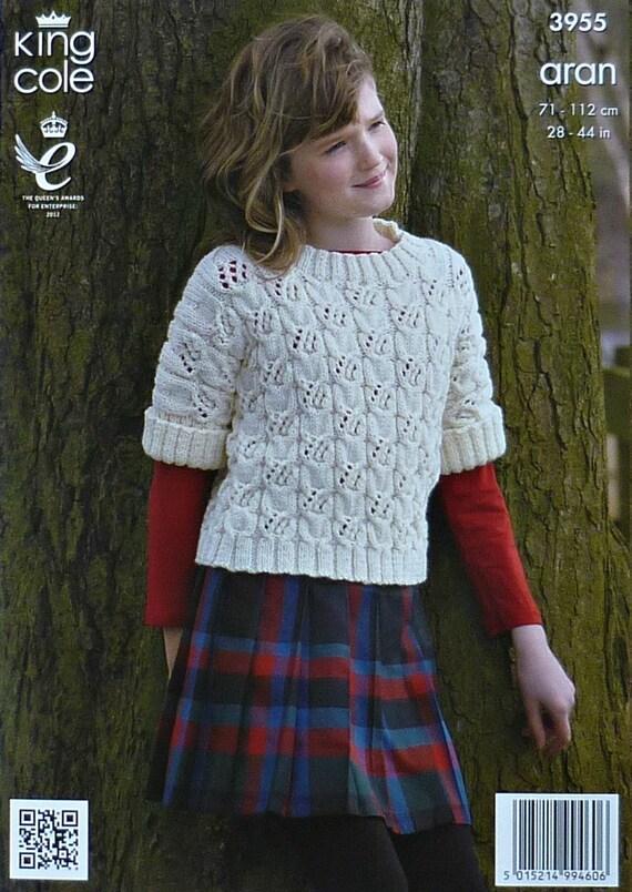 Girls Knitting Pattern K3955 Childrensladies Short Sleeve Cable
