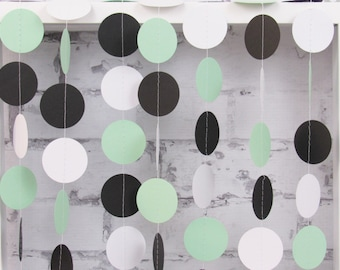 Mint Garland - Mint Black White Party Decor - Black and Mint Bridal Party - Mint Baby Shower
