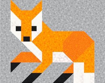 Fox #1 Quilt BLOCK Pattern, PDF, Instant Download, modern patchwork, fox, animal, cute, forest, woodland