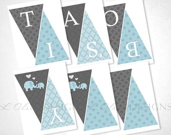 Loving Elephants Banner - Blue - DIY Printable - INSTANT DOWNLOAD