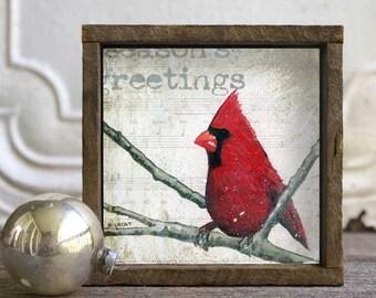 Christmas Cardinal, Christmas Decor, Farmhouse Christmas, Bird Art Print, Seasonal Decor, Christmas Decorating, Redbird, Holiday Decor