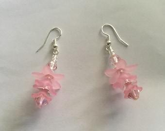 Pretty pink flower bead earrings