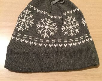 Gray and white snowflake hat  fleece lined ***FREE EMBROIDERY PERSONALIZATION of name or business name *black friday special of the week