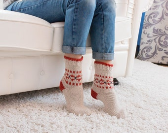 White Red Wool Acrylic Socks Warm Knitted Winter High-Quality House Home Socks Women Unique Socks Housewarming Birthday Valentines Gifts