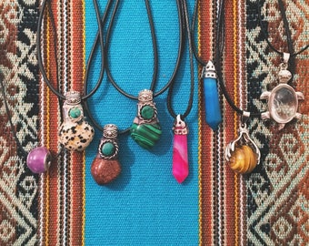 Various Crystal Gemstone With Cord Necklace