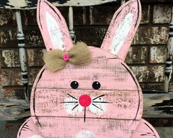 Reclaimed Pallet Wood Bunny Sign, Wooden Bunny, Easter Bunny, Easter decor, Spring decor