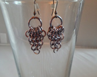 Black Ice Feathery Triangle Earrings