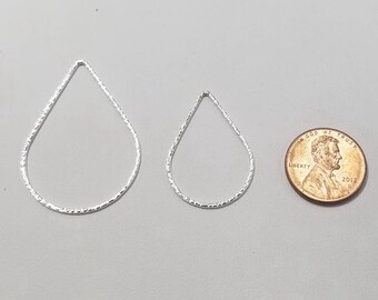 1 Piece - Sterling Silver 25mm x 35mm (Large) Teardrop Hammered Links, Made in the USA