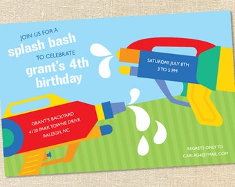 Sweet Wishes Water Gun War Birthday Party Invitations - PRINTED - Digital File Also Available