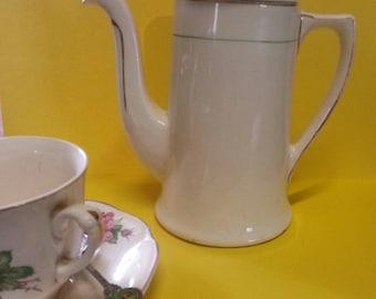 Vintage Grindley CreamPetal China Coffee Pot / Vintage English Grindley Coffee Pot
