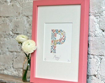 P Print, Personalised gift, nursery print, new baby gift, kid's wall art, nursery decor, Limited Edition Alphabet Letter