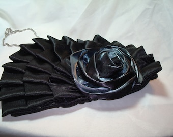 Bijoux Terner Silvery Blue  and Black Satin Ruffled Rosette Handbag Purse.