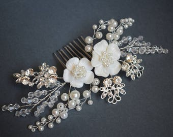 Wedding hair piece, Wedding hair comb, Pearl Hair Comb, Bridal Hair Comb, Bridal Hair Piece, Pearl Hair Accessory, Wedding Hair Piece