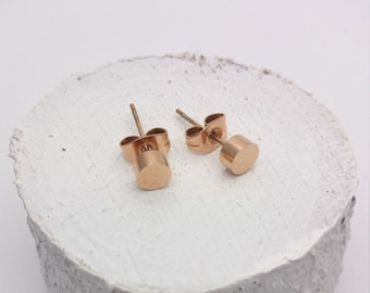 Round Studs Earrings Rose Gold plated surgical steel 5mm hypoallergenic