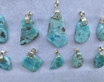 70% Discount in  Pendant Handmade Natural Blue Larimar Gemstone 925 Sterling Silver Pendant Larimar Necklace Blue Larimar Jewelry
