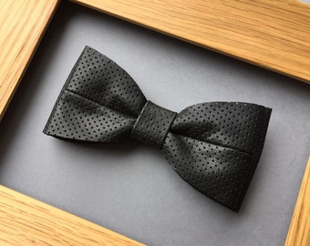 Black leather bow tie Pretied bowtie Perforated leather bow tie Wedding bow tie Genuine leather necktie Mens bow tie Womens bow tie