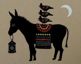 Night Riders - 11 x 14 inch Cut Paper Art Print