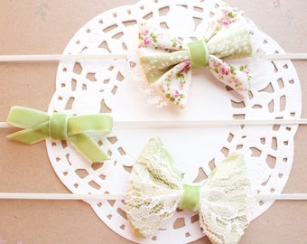 Sage and Ivory baby girl headbands