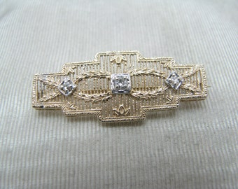 c118 Beautiful Vintage 14k Yellow Gold Rectangle Diamond Brooch