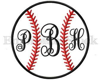 Baseball Softball Stitches Applique Machine Embroidery Design For Instant Download - 6 Sizes
