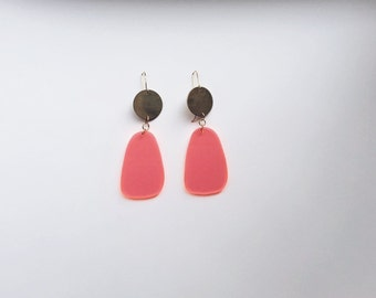 Pink Acetate and Brass Maxi Earrings