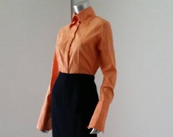Orange Button Up   90s Orange   90s Shirt Women   90s Shirt Vintage   Tailored Blouse   Farinaz Taghavi   Orange Blouses  