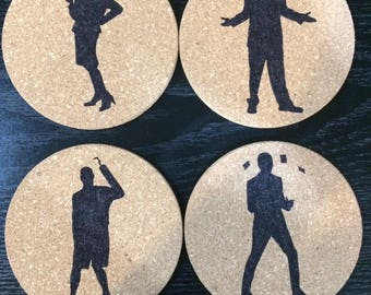 Set of 4 round cork Arrested Development coasters-Lucille Bluth, George Bluth, Buster Bluth, GOB Bluth
