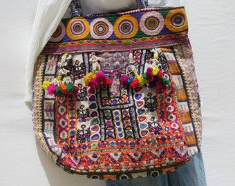 Banjara Bag|Authentic|Gypsy|Tote|Large Shoulder Bag|Boho|Bohemian|Tassels|60s|Patchwork|Hippie|Handmade|Detail Embroidery|Multicolored|1810