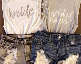 Bride or Maid of Honor womens muscle shirt