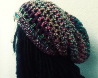 "The ""Loop Digga"" Patchwork Drawstring Tam // Crochet Tams // OOAK Unisex Slouchy Hats // Rasta Dreadlock Tams"