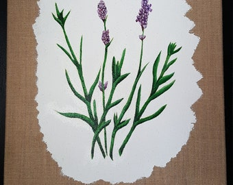 Lavender Original Painting on Burlap