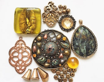 craft lot destash of salvaged metal and glass primitive distressed jewelry components//gold turquoise blue copper--mixed lot of 10+ items