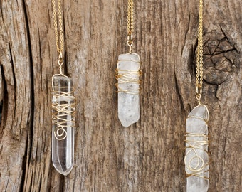 Wire wrapped white quartz crystal necklace, 14k gold, crystal necklace