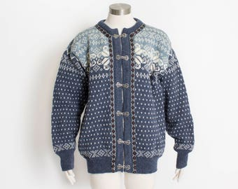 Vintage 1980s DALE of Norway Sweater - WOOL Blue & Ivory Norwegian Knit Cardigan - L Large