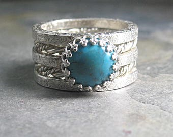 Turquoise stacking ring set pattern wire twisted wire western jewelry, cowgirl jewelry - Western Dreams