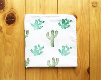 desert cactus handkerchief | ladies and kids hankie | cotton hand wipe | hand stamped face wipe | eco friendly nose wipe | nature lover gift
