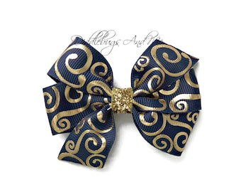 Navy And Gold Hair Bow, Back To School Hair Bow, Girls Navy Hair Bow, School Hair Bows, Gold and Navy Hair Bow, Toddler Hair Bows, Hair Bows