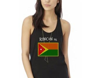 Rincon Puerto Rico Flag Ladies' Shirttail Tank