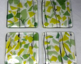 Fused Glass Coasters Sunflower Yellow and Green with black detail combo - set of four