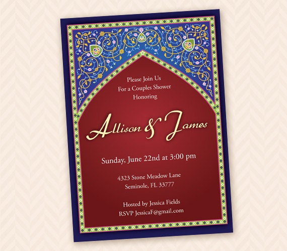 Moroccan Themed Bridal Shower Invitation
