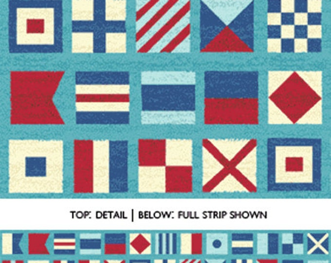 """SUPER CLEARANCE!! 16"""" REMNANT Ships Ahoy - Nautical Flags in Azure Blue - Nautical Cotton Quilt Fabric - from Benartex (W652)"""