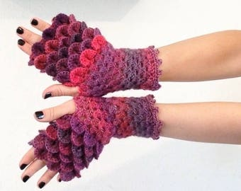 READY TO SHIP - Dragon Gloves - Winery red purple wine fingerless scales wrist hand arm warmers women crochet game of thrones khaleesi