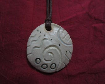 Abstract light - Hand carved ceramic pendant