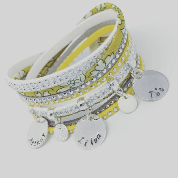 Liberty Capel mustard multi strand with 3 ENGRAVINGS by Palilo custom personalized bracelet